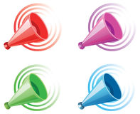 Set of four megaphones Stock Photography