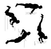 Set with four men athletes. Workout, sport concept. Black silhouettes on white background Royalty Free Stock Image