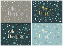Set of four Merry Christmas cards with snowflakes,  templates. Set of four Merry Christmas cards with snowflakes and snow in a minimal style,  templates Royalty Free Stock Images