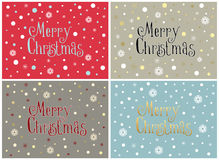 Set of four Merry Christmas cards with snowflakes,  templates. Set of four Merry Christmas cards with snowflakes and snow in a minimal style,  templates Royalty Free Stock Photography