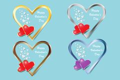 Set of four metal frame hearts. Of Valentine`s Day or wedding day Royalty Free Stock Photo