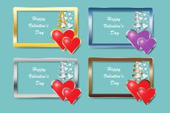 Set of four metal frame rectangles with hearts hanging on the ri. Bbon. Vector can be used as a Valentine`s Day or Wedding Day card Royalty Free Stock Photography