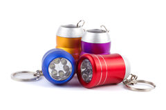 Set of four metal LED flashlight keychain  Stock Image