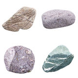 Set of four minerals. On a white background Stock Image