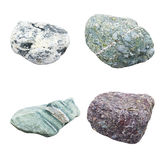 Set of four minerals. On a white background Royalty Free Stock Image