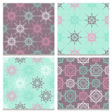 Set of four mint blue and brown seamless patterns  Stock Photo