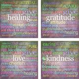 Set of four 100mm square print ready word cloud healing coasters Stock Image