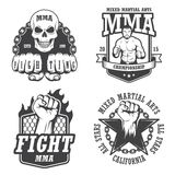 Set of four mma emblems. Labels, badge, logos. Monochrome graphic style Stock Photography