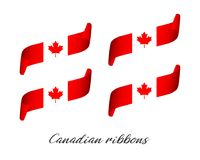 Set of four modern colored vector ribbons in Canadian color. Isolated on white background, flag of Canada, Canadian ribbons Royalty Free Stock Photography
