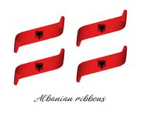 Set of four modern colored vector ribbons in the color of Albania. N isolated on white background, flag of Albania, Albanian ribbons Stock Photography