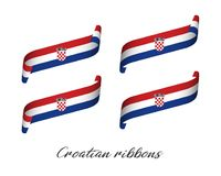Set of four modern colored vector ribbons with Croatian tricolor. Isolated on white background, flag of Croatia, Croatian ribbons Stock Images