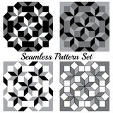 Set of four modern geometric seamless patterns with rhombus and squares of black, grey and white shades Stock Photography