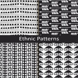 Set of four monochrome ethnic lineal pattern designs Stock Image
