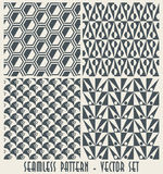Set of four monochrome geometrical patterns  Royalty Free Stock Photo