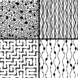 Set of four monochrome geometrical patterns Stock Images