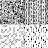 Set of four monochrome geometrical patterns. EPS 8 vector illustration Stock Images