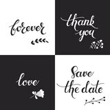 Set with four monochrome hand drawn text pretty backgrounds. Vector set with four monochrome hand drawn text pretty backgrounds Royalty Free Stock Photography
