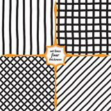 Wide vertical lines, mesh, diamonds and diagonal lines. Set of four monochrome patterns. Wide vertical lines, mesh, diamonds and diagonal lines. Large grid of Royalty Free Stock Image