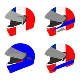 Set of four motorcycle helmets in red, white and blue stock photos