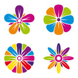 Set of four multicolor flower icons on white background Royalty Free Stock Image