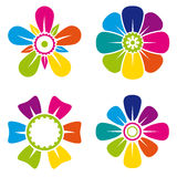 Set of four multicolor flower icons on white background Royalty Free Stock Photo