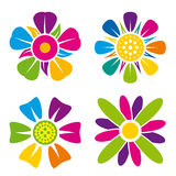 Set of four multicolor flower icons on white background Stock Image