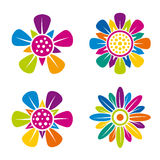 Set of four multicolor flower icons on white background Royalty Free Stock Photography