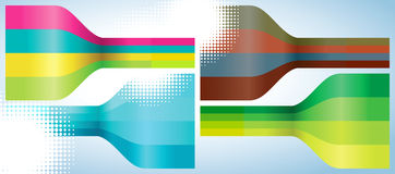 Set of four multicolor lines abstract background stock illustration