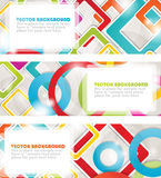 Set of four multicolored banners with circles Royalty Free Stock Images