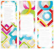 Set of four multicolored banners with circles Stock Image