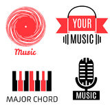 Set of four music logotypes (record,microphone,piano,headphones) Royalty Free Stock Photo