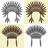 Set of four native american head dress with ethnic ornament Royalty Free Stock Photography