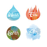 Set of the four nature elements icons. Water, fire, earth, air symbols Stock Images