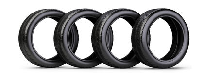 Set of four new black tyres for car. Isolated on white backgroun. D 3d illustration. 3d image. Isolated white background Royalty Free Stock Photo