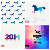 Set of four New Year symbols. Blue horse.Vector retro supply, hi. Pster background. Retro styled badge, signs. Banner. Horse Backdrop. Geometric. Triangle Stock Photos