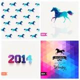 Set of four New Year symbols. Blue horse.Vector retro supply, hi Stock Photos