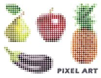 Set of four objects on the theme of food with apple, pineapple, eggplant and pear. Vector illustration in the style of pixel art stock illustration