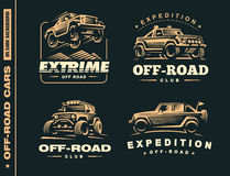 Set of four off-road suv car labels Stock Image