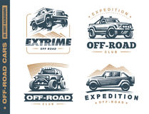 Set of four off-road suv car monochrome labels Royalty Free Stock Images