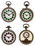 Set of four old pocket watches, isolated with clip Royalty Free Stock Photos