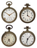 Set of four old pocket watches, isolated with clip Stock Photo