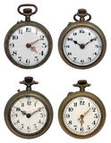 Set of four old pocket watches, isolated with clip Stock Image