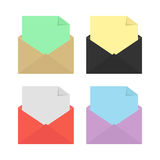 Set of four open colored envelopes Stock Image