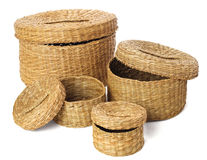 Set of four open wicker handmade box on a white background. Wicker baskets on white background Royalty Free Stock Photography