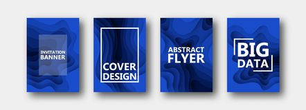 A set of four options for banners, flyers, brochures, cards, posters for your design, in blue colors. stock illustration