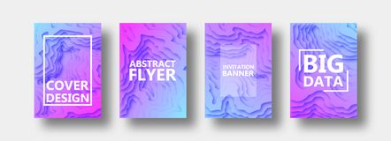 A set of four options for banners, flyers, brochures, cards, posters for your design, in lilac, violet, blue tones. Gradient. stock illustration
