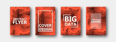 A set of four options for banners, flyers, brochures, cards, posters for your design, in orange tones. stock illustration