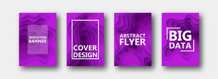 A set of four options for banners, flyers, brochures, cards, posters for your design, in purple colors. vector illustration