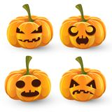 Set of pumpkins for Halloween. Set of four orange pumpkins for Halloween, jack-o-lantern with empty eyes vector illustration