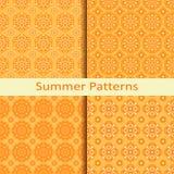Set of four orange summer patterns. Vector set of four orange summer patterns Stock Photography